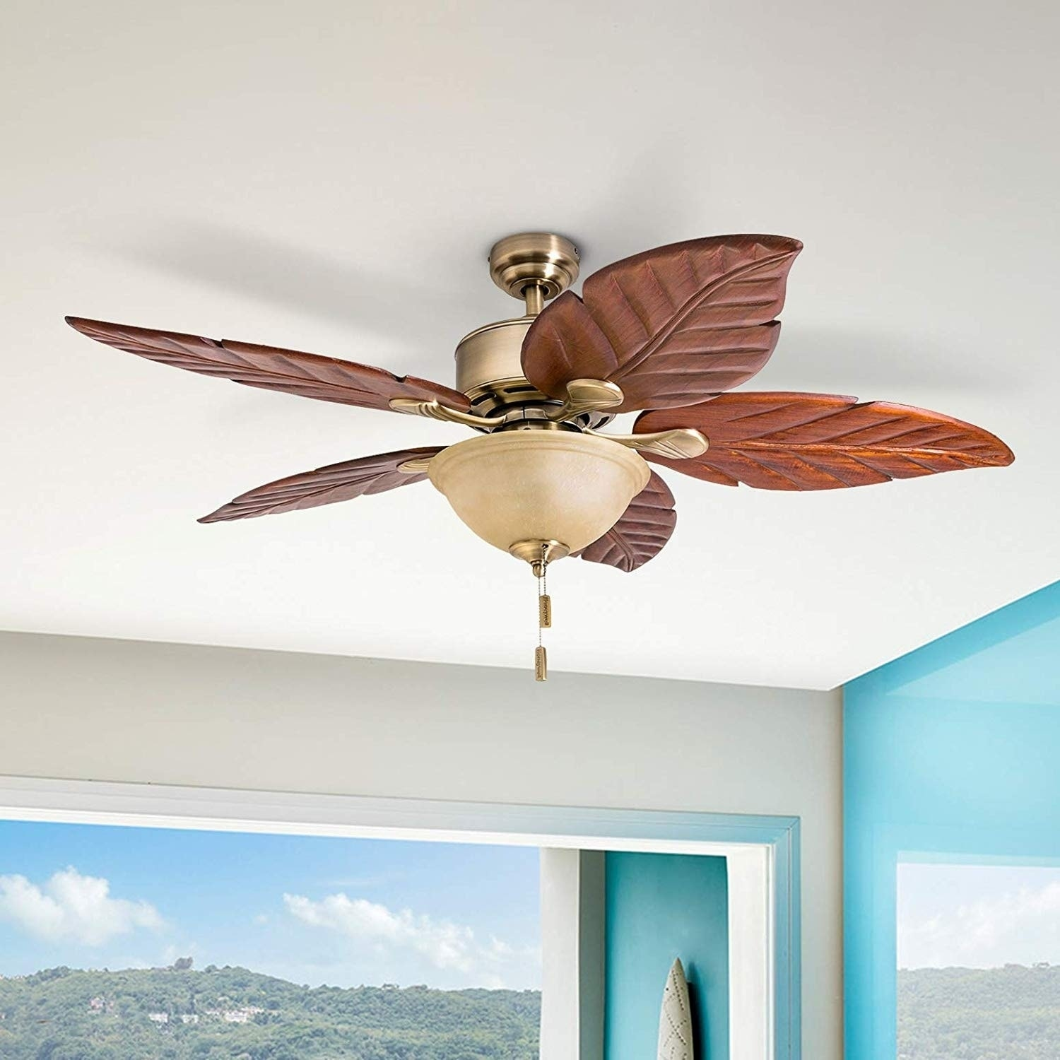 Shop Black Friday Deals On Honeywell Sabal Palm Tropical Led Ceiling Fan With Bowl Light Hand Carved Blades 52 Inch Overstock 22344551