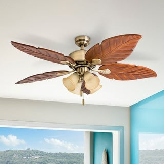 """Honeywell Royal Palm 52"""" Aged Brass Tropical LED Ceiling Fan with Light"""