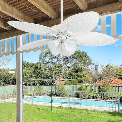 """Honeywell Palm Lake 52"""" White Tropical LED Ceiling Fan with Branch Lighting and Palm Leaf Blades"""