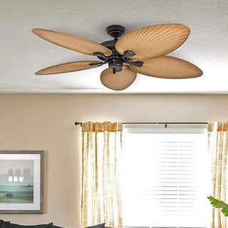 "Honeywell Palm Valley 52"" Bronze Tropical Ceiling Fan with Palm Leaf Blades"