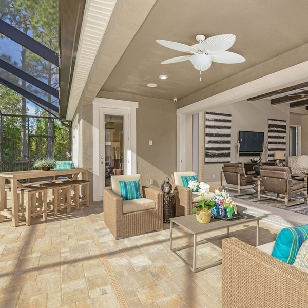 "Shop Ecosure Siesta Key 52 Inch Tropical White Bowl Light: Shop Honeywell Palm Island 52"" White Tropical LED Ceiling"