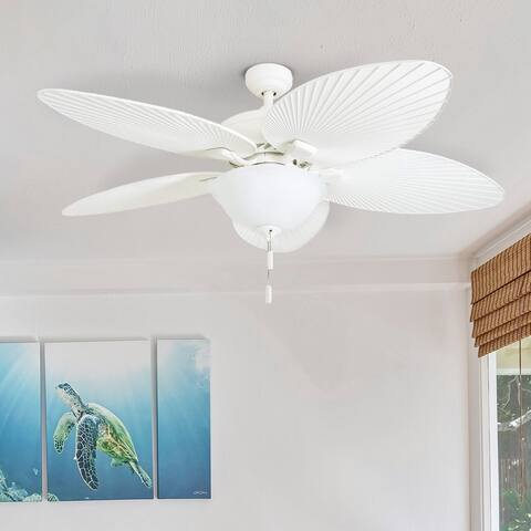 "Honeywell Palm Island 52"" White Tropical LED Ceiling Fan with Light, Palm Leaf Blades"