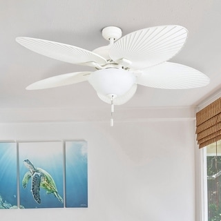 """Link to Honeywell Palm Island 52"""" White Tropical LED Ceiling Fan with Light, Palm Leaf Blades Similar Items in Ceiling Fans"""
