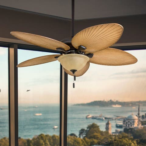 """Honeywell Palm Valley 52"""" Bronze Tropical LED Ceiling Fan with Light, Palm Leaf Blades"""