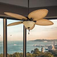 "Honeywell Palm Valley 52"" Bronze Tropical LED Ceiling Fan with Light, Palm Leaf Blades"