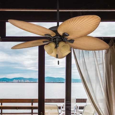 "Honeywell Palm Valley 52"" Bronze Tropical LED Ceiling Fan with Branch Lighting and Palm Leaf Blades"
