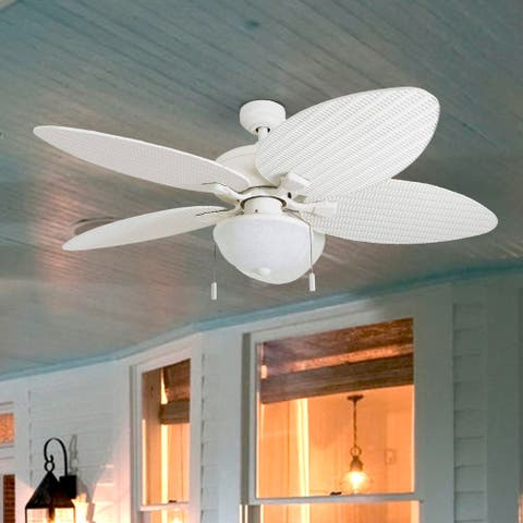 Honeywell Inland Breeze White Outdoor LED Ceiling Fan with Light, Plastic Wicker Blades - 52-inch