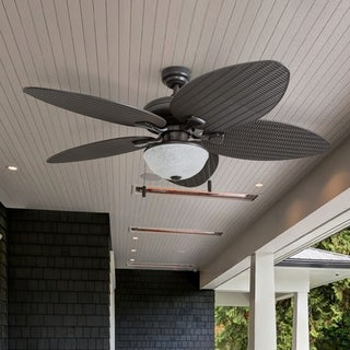 "Honeywell Inland Breeze 52"" Bronze Outdoor LED Ceiling Fan with Light, Plastic Wicker Blades"