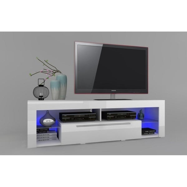 Shop Goal Glossy White Tv Stand On Sale Free Shipping Today