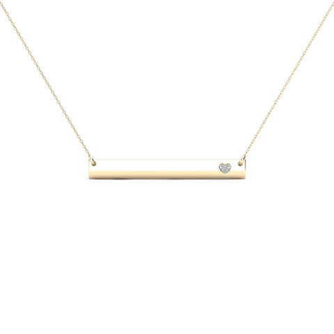 AALILLY 10k Yellow Gold Bar with Diamond Accent Heart Necklace (H-I, I1-I2)