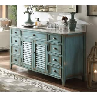 "60"" Benton Collection Abbeville Rustic Blue Bathroom Vanity"