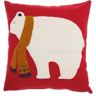 Mina Victory Home For The Holiday Red/White Polar Bear Throw Pillow (18-Inch X 18-Inch)