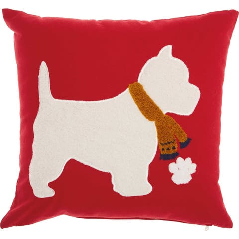 Mina Victory Home For The Holiday White/Red Scottie Dog Throw Pillow (18-Inch X 18-Inch)