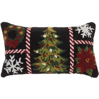 Mina Victory Home For The Holiday Festive Grid Multicolor Throw Pillow (12-Inch X 24-Inch)