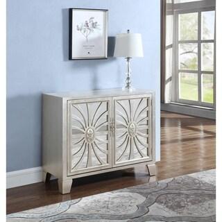 Best Master Furniture Champagne Finish Wood/Glass Wine Bar Cabinet