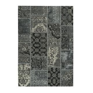Bluebonnet Silver Black Flat Woven Rectangle Area Rug - 8' x 10'