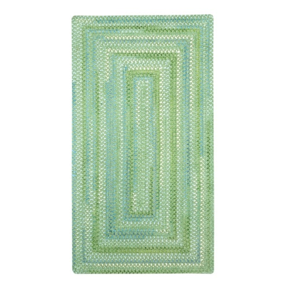CeCE Sea Monster Green Braided Concentric Rectangle Area Rug - 5'6 x 5'6