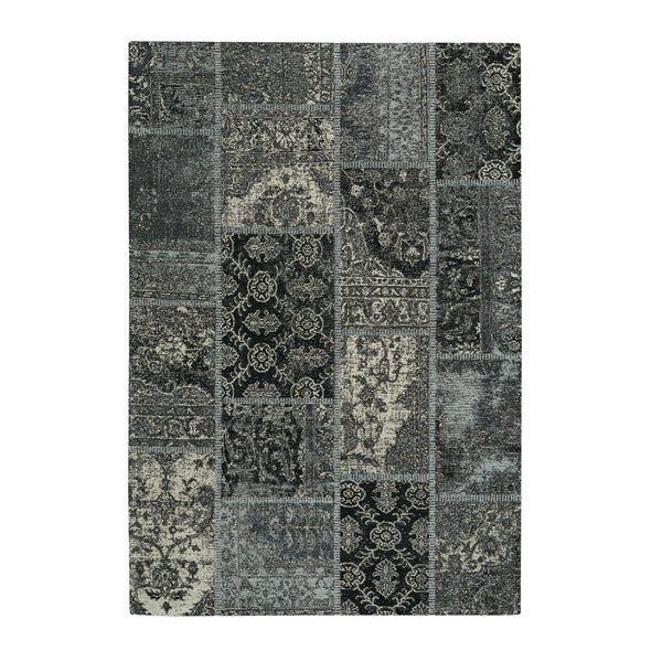 Bouteille Silver Black Flat Woven Rectangle Area Rug - 5' x 8'