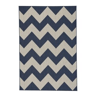 "Ly Navy Machine Woven Rectangle Area Rug - 3'11"" x 5'3"""
