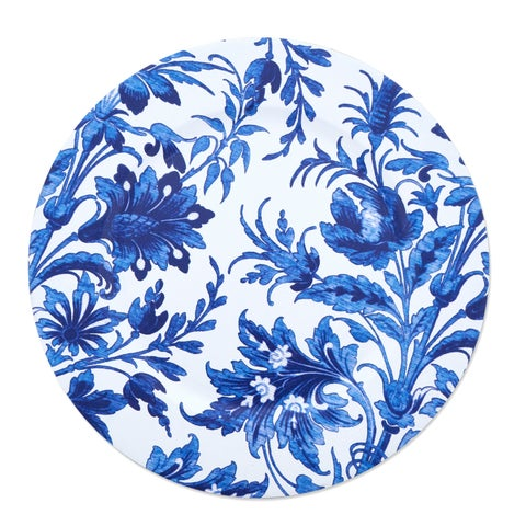 French Style Floral Print Decorative Charger Plate - Set of 4