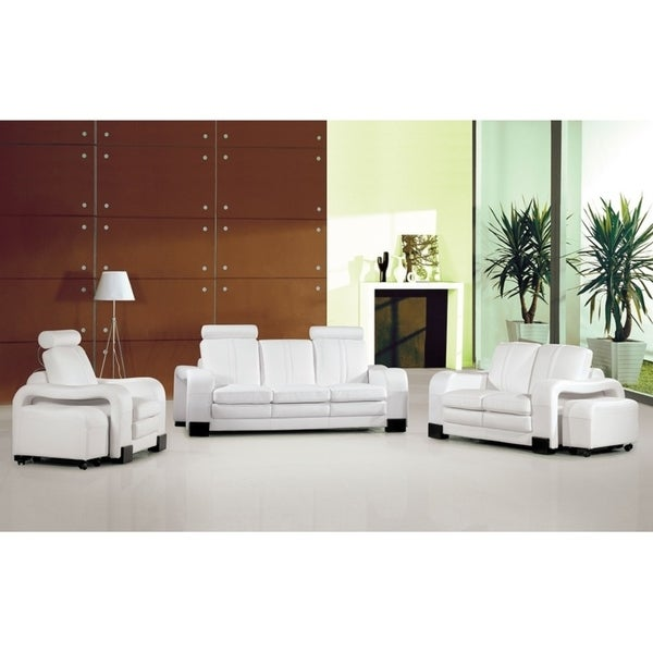 Gamma White Leather 3-piece Living Room Set
