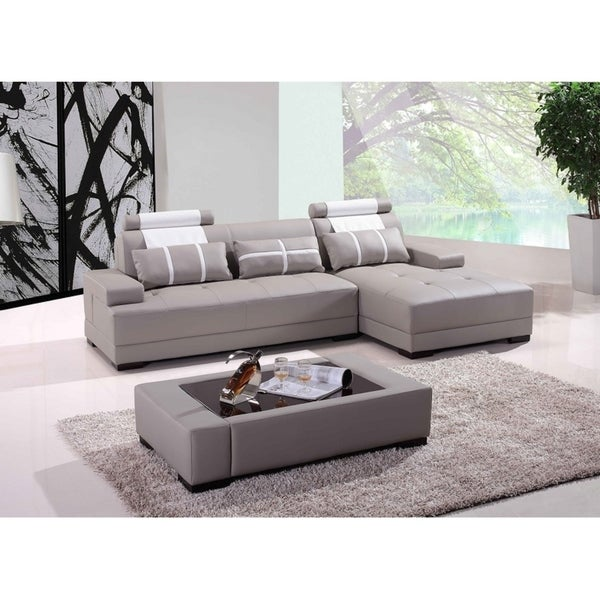Miami Grey Leather 3 Piece Sectional Sofa