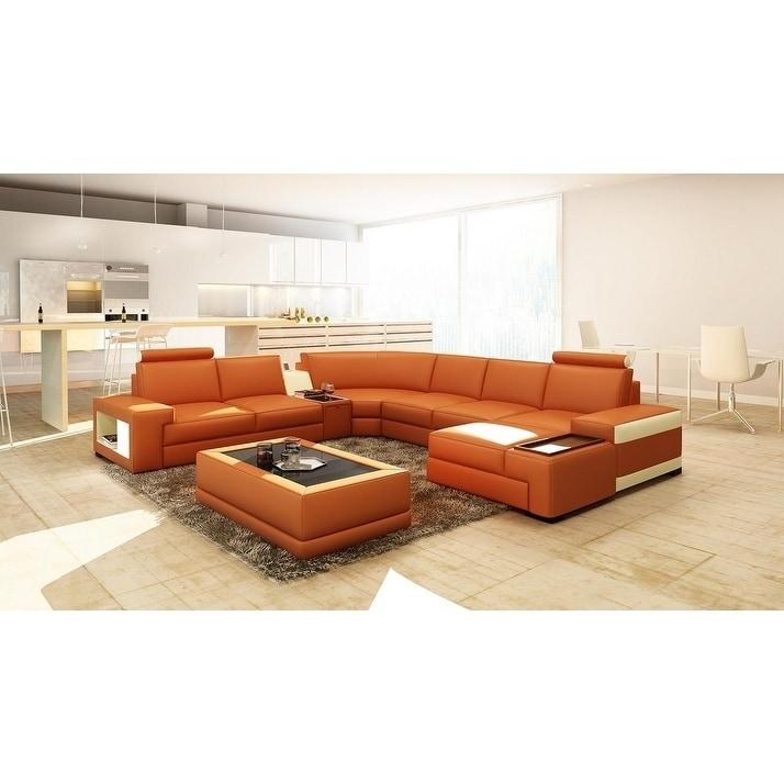 Orlando Leather/Hardwood 6-piece Sectional Sofa