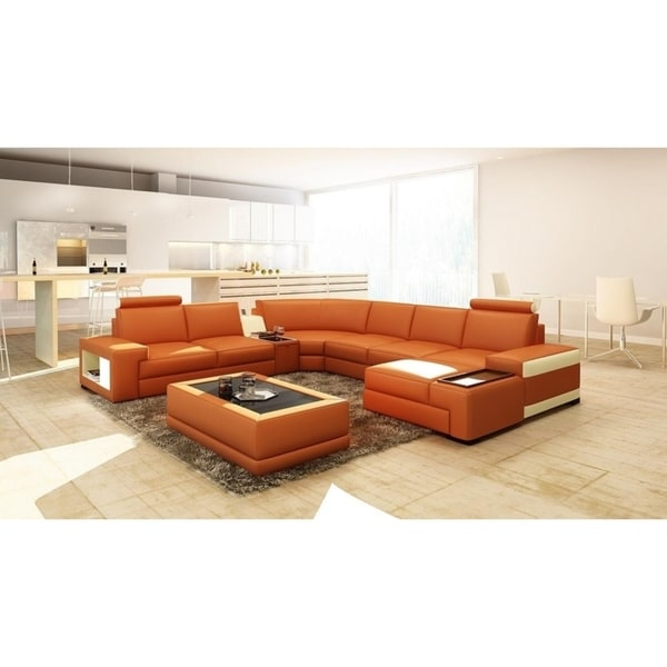Shop Orlando Leather/Hardwood 6-piece Sectional Sofa - Free Shipping ...