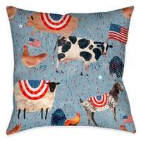 Laural Home Patriotic Farm Animals Indoor Throw Pillow