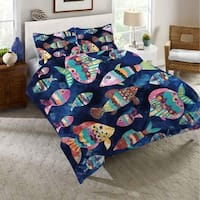 Laural Home Bohemian Fish Duvet Cover - Blue