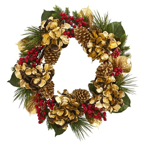"""24"""" Golden Hydrangea with Berries and Pine Artificial Wreath"""