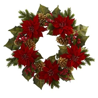 """24"""" Poinsettia, Berry and Golden Pine Cone Artificial Wreath"""