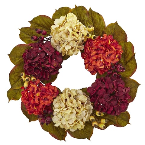 "20"" Hydrangea Berry Artificial Wreath"