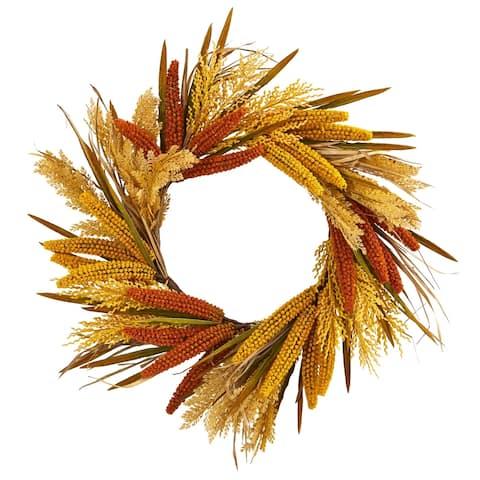 "25"" Sorghum Harvest Artificial Wreath"