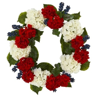 "21"" Geranium and Blue Berry Artificial Wreath"
