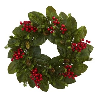"""24"""" Magnolia Leaf, Berry and Pine Artificial Wreath"""