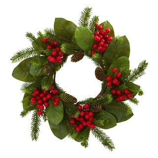 """19"""" Magnolia Leaf, Berry and Pine Artificial Wreath"""