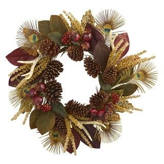 """27"""" Magnolia Leaf, Berry, Antler and Peacock Feather Artificial Wreath"""