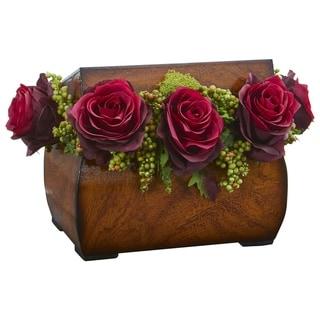 Roses Artificial Arrangement in Decorative Chest