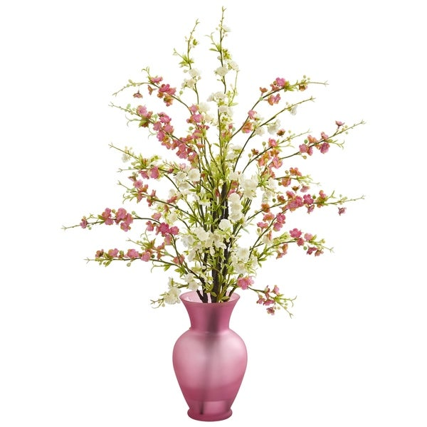Cherry Blossom Artificial Arrangement in Rose Vase