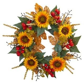 """27"""" Sunflower Berry Artificial Wreath"""