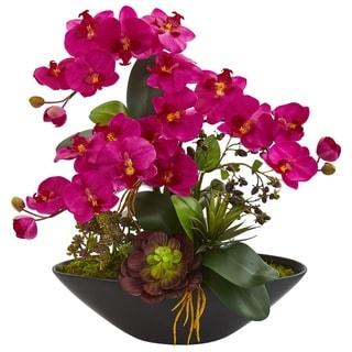 Phalaenopsis Orchid and Mixed Succulent Garden Artificial Arrangement in Black Vase