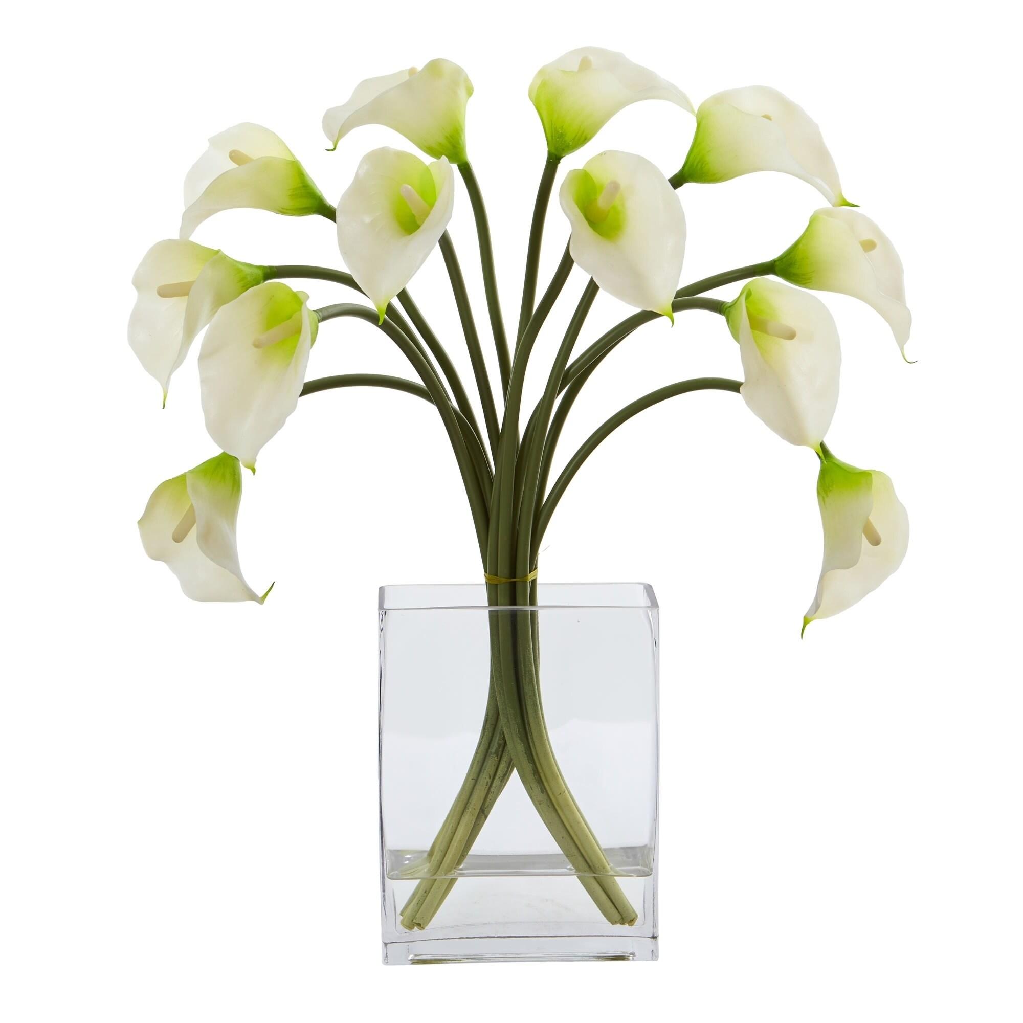 Shop Calla Lily Artificial Arrangement In Vase Overstock 22348960