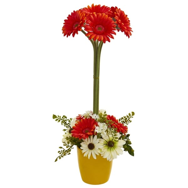 Shop Gerber Daisy Artificial Arrangement In Ceramic Vase Free