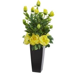 Peony Artificial Arrangement in Black Vase
