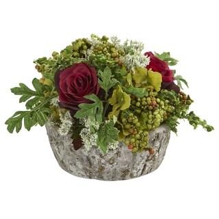 Roses Bouquet Artificial Arrangement in Oak Vase