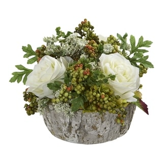 Roses Bouquet Artificial Arrangement in Oak Vase