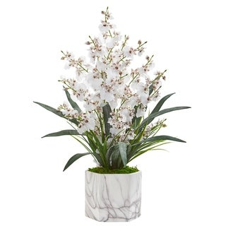 Dancing Lady Orchid Artificial Arrangement in Marble Finished Vase
