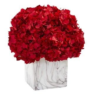 Red Hydrangea Artificial Arrangement in Marble Vase