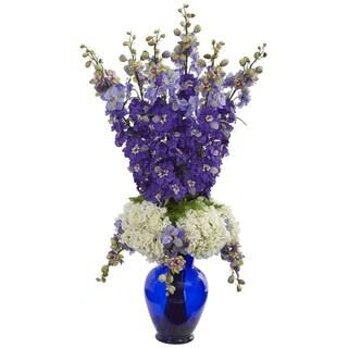 Delphinium and Hydrangea Artificial Arrangement in Blue Vase